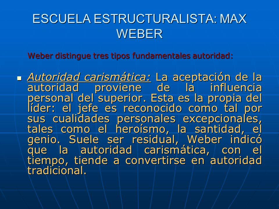 ESCUELA ESTRUCTURALISTA: MAX WEBER Weber distingue tres tipos fundamentales autoridad: Autoridad carismática: La aceptación de la autoridad proviene d