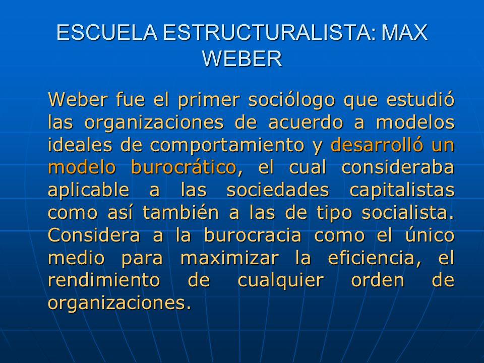 ESCUELA ESTRUCTURALISTA: MAX WEBER Weber fue el primer sociólogo que estudió las organizaciones de acuerdo a modelos ideales de comportamiento y desar