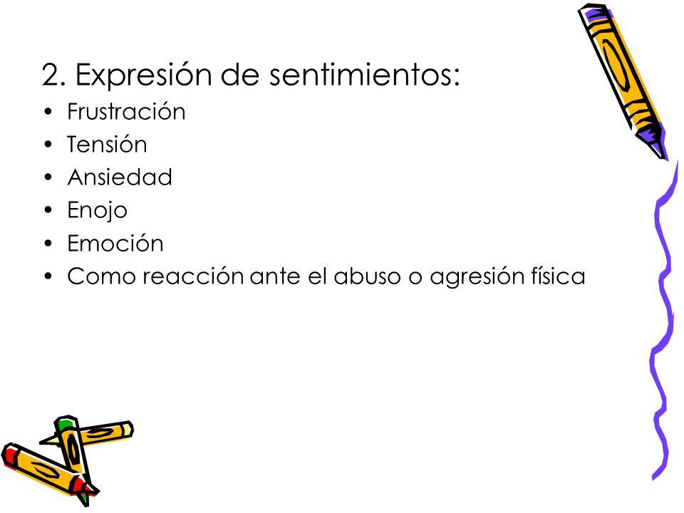 2. Expresión de sentimientos: Frustración Tensión Ansiedad Enojo Emoción Como reacción ante el abuso o agresión física