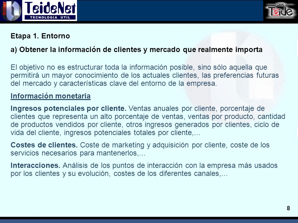 9 Información de contacto Base de datos de clientes con información de contacto, actividades principales, información geográfica, tamaño,..