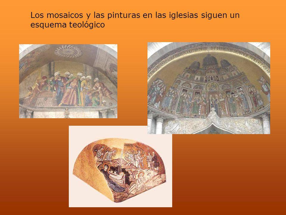 Los mosaicos y las pinturas en las iglesias siguen un esquema teológico