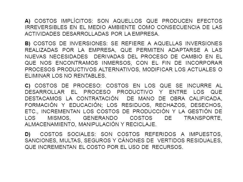 A) COSTOS IMPLÍCITOS: SON AQUELLOS QUE PRODUCEN EFECTOS IRREVERSIBLES EN EL MEDIO AMBIENTE COMO CONSECUENCIA DE LAS ACTIVIDADES DESARROLLADAS POR LA E