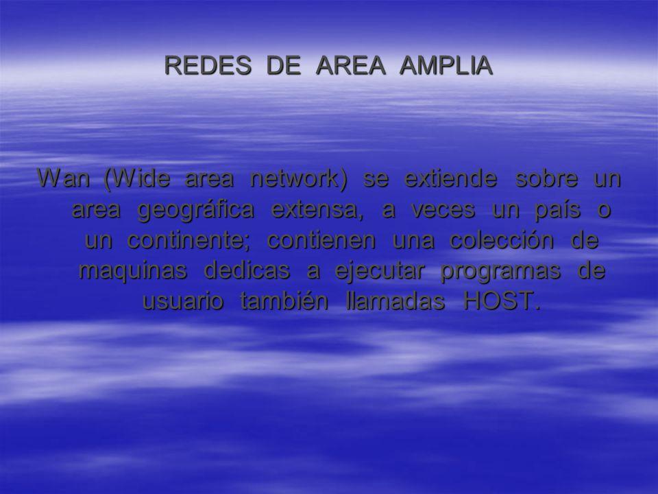 REDES DE AREA AMPLIA Wan (Wide area network) se extiende sobre un area geográfica extensa, a veces un país o un continente; contienen una colección de maquinas dedicas a ejecutar programas de usuario también llamadas HOST.