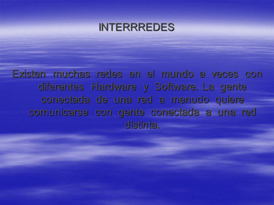 INTERRREDES Existen muchas redes en el mundo a veces con diferentes Hardware y Software.