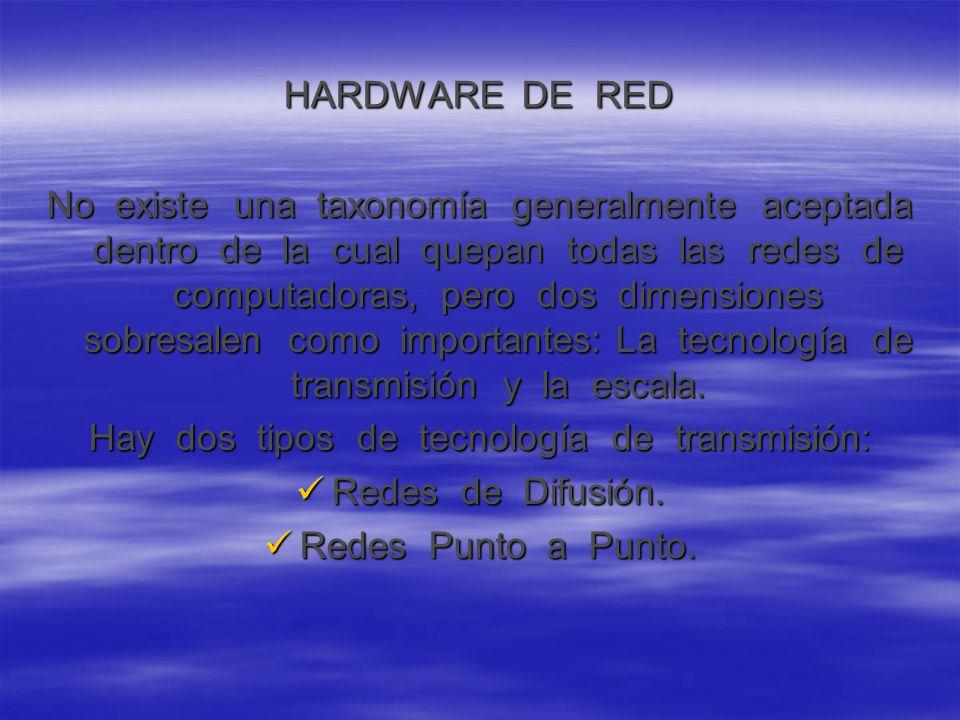 HARDWARE DE RED No existe una taxonomía generalmente aceptada dentro de la cual quepan todas las redes de computadoras, pero dos dimensiones sobresalen como importantes: La tecnología de transmisión y la escala.