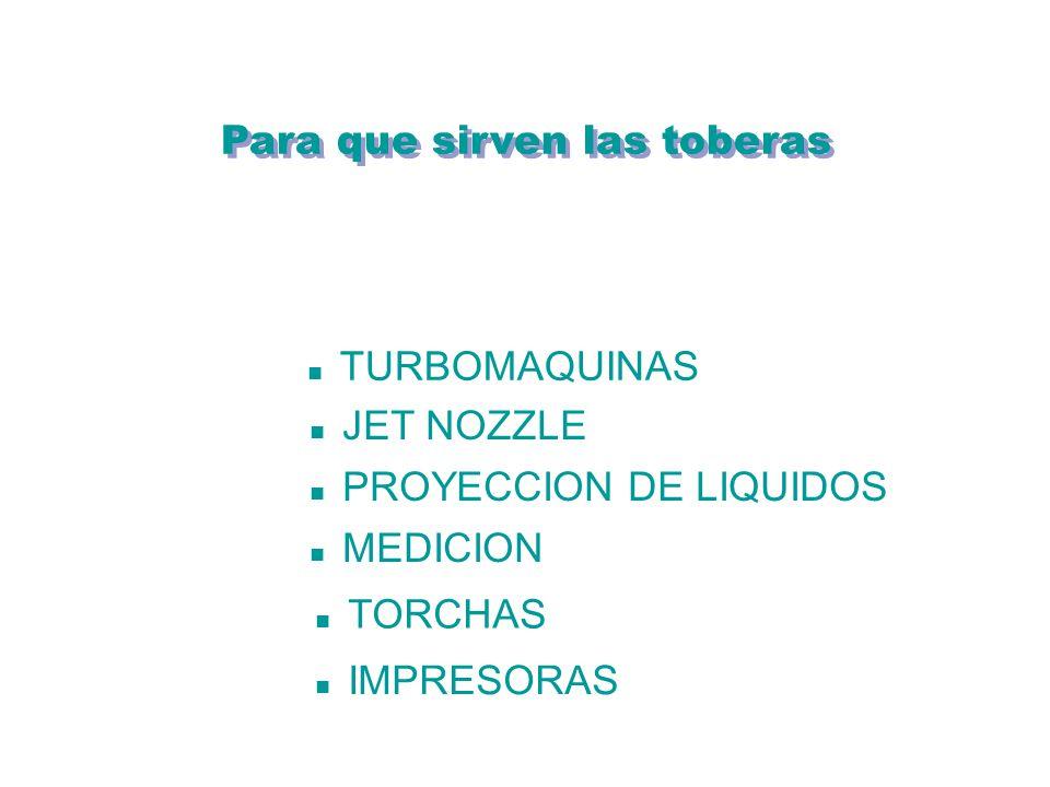 Para que sirven las toberas TURBOMAQUINAS JET NOZZLE PROYECCION DE LIQUIDOS MEDICION TORCHAS IMPRESORAS