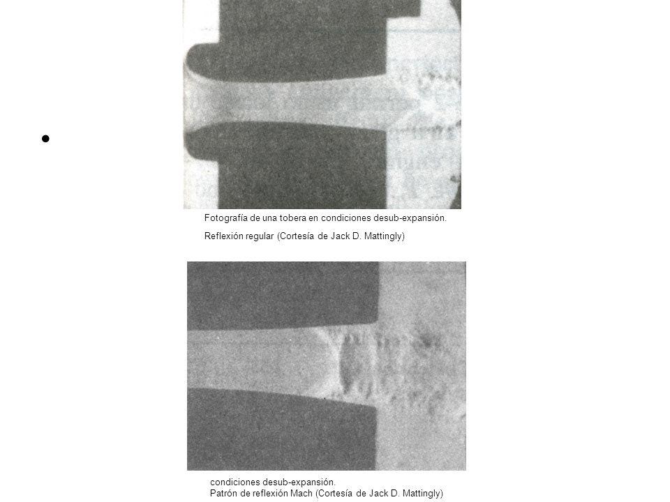 condiciones desub-expansión. Patrón de reflexión Mach (Cortesía de Jack D. Mattingly) Fotografía de una tobera en condiciones desub-expansión. Reflexi