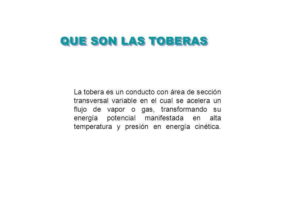 QUE SON LAS TOBERAS La tobera es un conducto con área de sección transversal variable en el cual se acelera un flujo de vapor o gas, transformando su