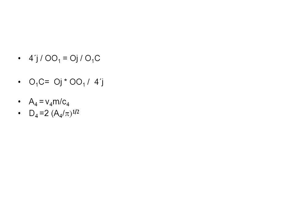 4´j / OO 1 = Oj / O 1 C O 1 C= Oj * OO 1 / 4´j A 4 = v 4 m/c 4 D 4 =2 (A 4 /