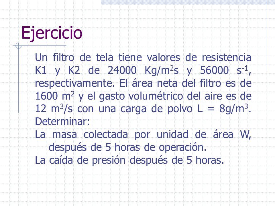 Ejercicio Un filtro de tela tiene valores de resistencia K1 y K2 de 24000 Kg/m 2 s y 56000 s -1, respectivamente. El área neta del filtro es de 1600 m
