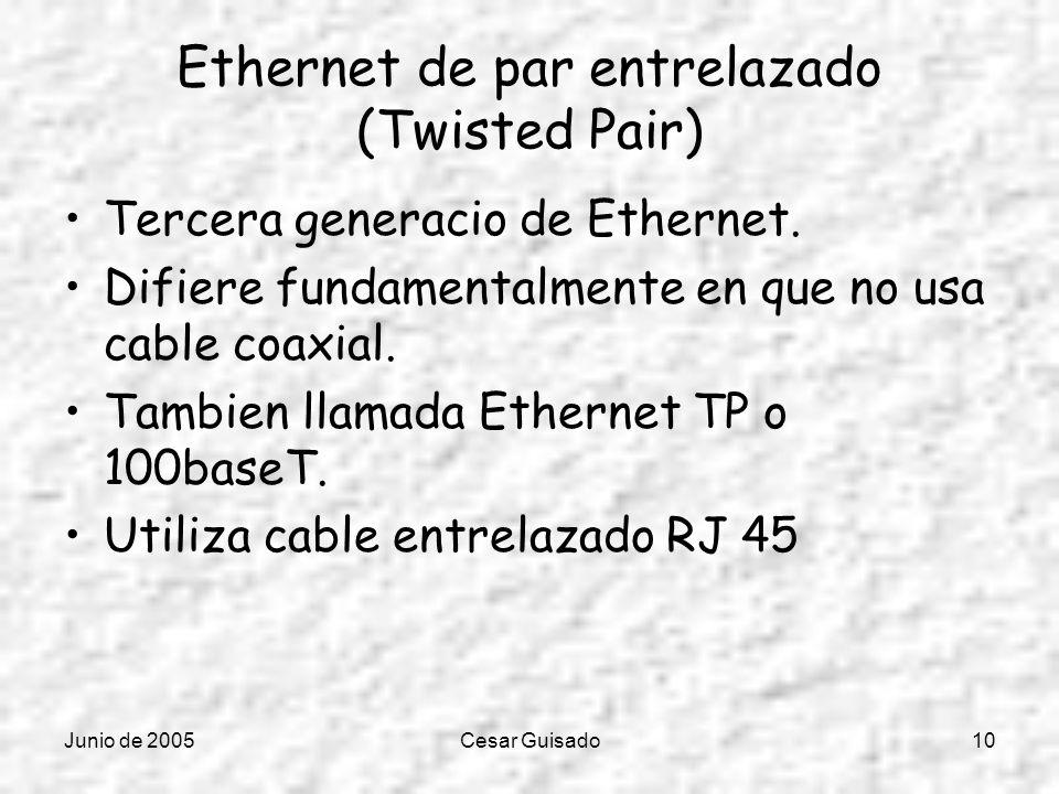 Junio de 2005Cesar Guisado10 Ethernet de par entrelazado (Twisted Pair) Tercera generacio de Ethernet. Difiere fundamentalmente en que no usa cable co
