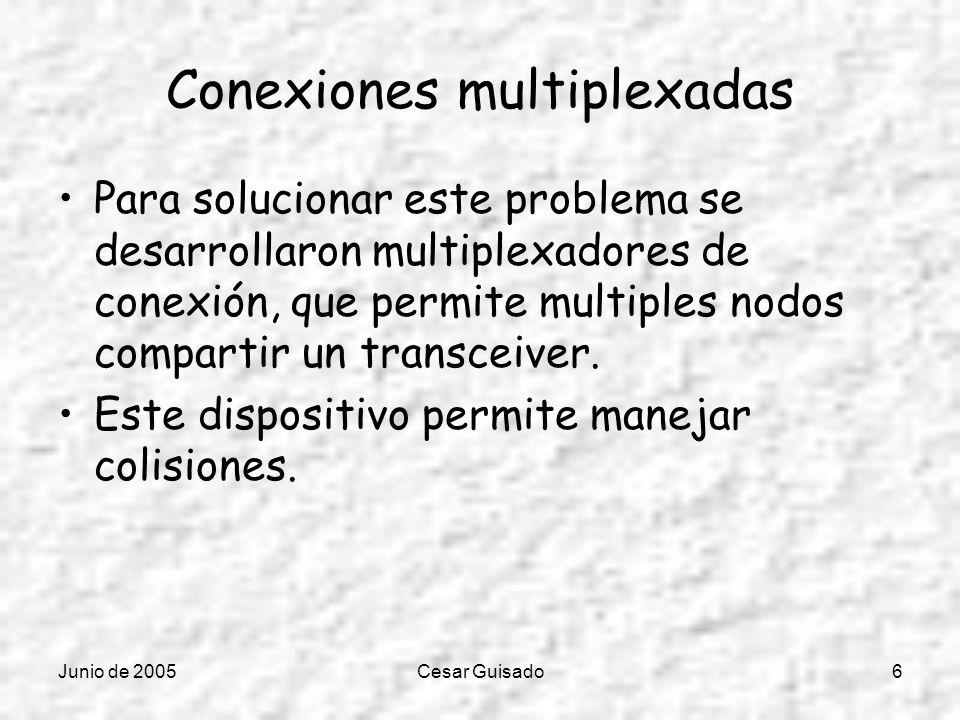 Junio de 2005Cesar Guisado6 Conexiones multiplexadas Para solucionar este problema se desarrollaron multiplexadores de conexión, que permite multiples