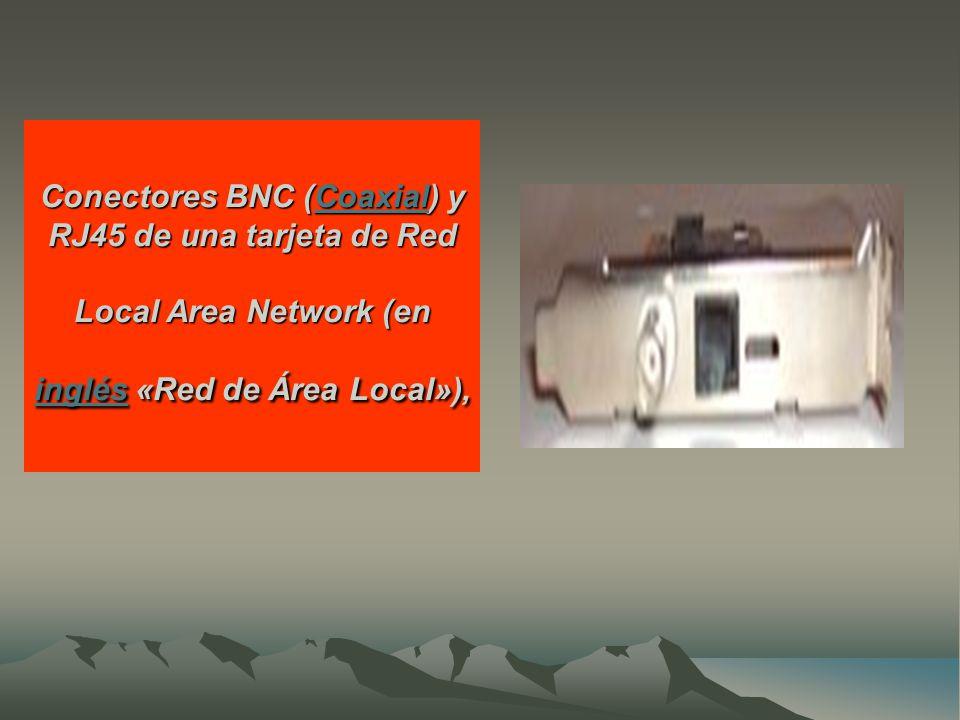 Conectores BNC (Coaxial) y RJ45 de una tarjeta de Red Local Area Network (en inglés «Red de Área Local»), Coaxial inglésCoaxial inglés