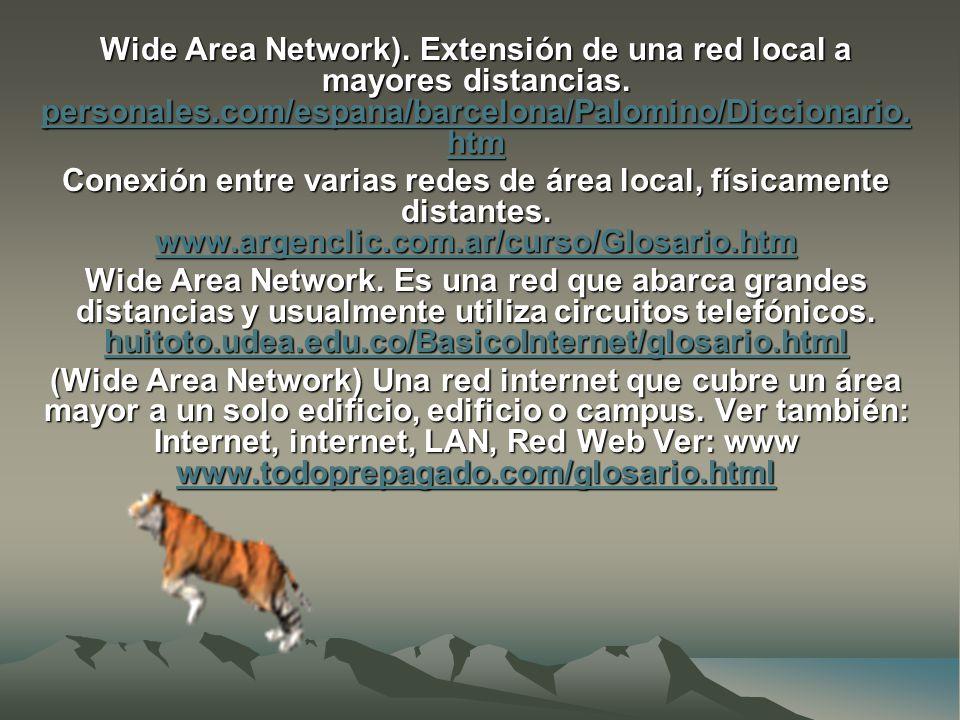 Wide Area Network). Extensión de una red local a mayores distancias.