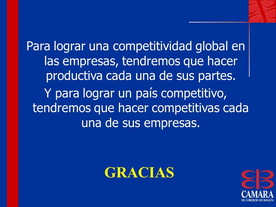 Para lograr una competitividad global en las empresas, tendremos que hacer productiva cada una de sus partes. Y para lograr un país competitivo, tendr