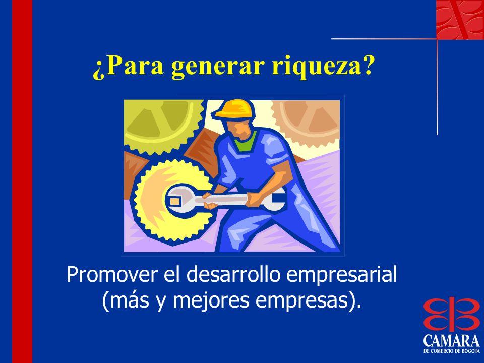 ¿Para generar riqueza? Promover el desarrollo empresarial (más y mejores empresas).