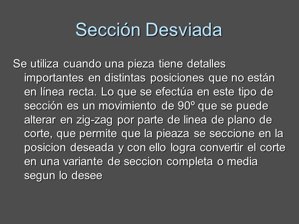 Sección Desviada Se utiliza cuando una pieza tiene detalles importantes en distintas posiciones que no están en línea recta.