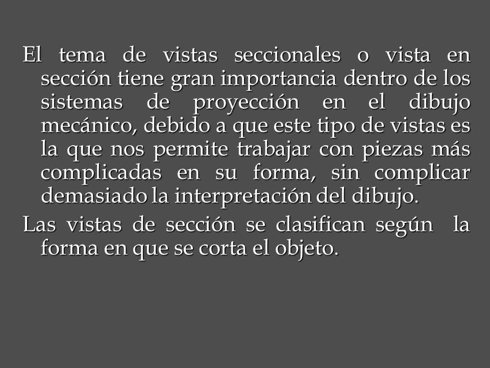 El tema de vistas seccionales o vista en sección tiene gran importancia dentro de los sistemas de proyección en el dibujo mecánico, debido a que este