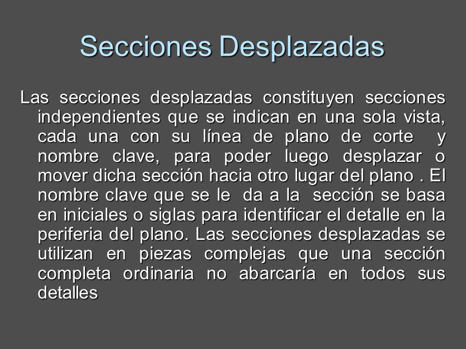 Secciones Desplazadas Las secciones desplazadas constituyen secciones independientes que se indican en una sola vista, cada una con su línea de plano