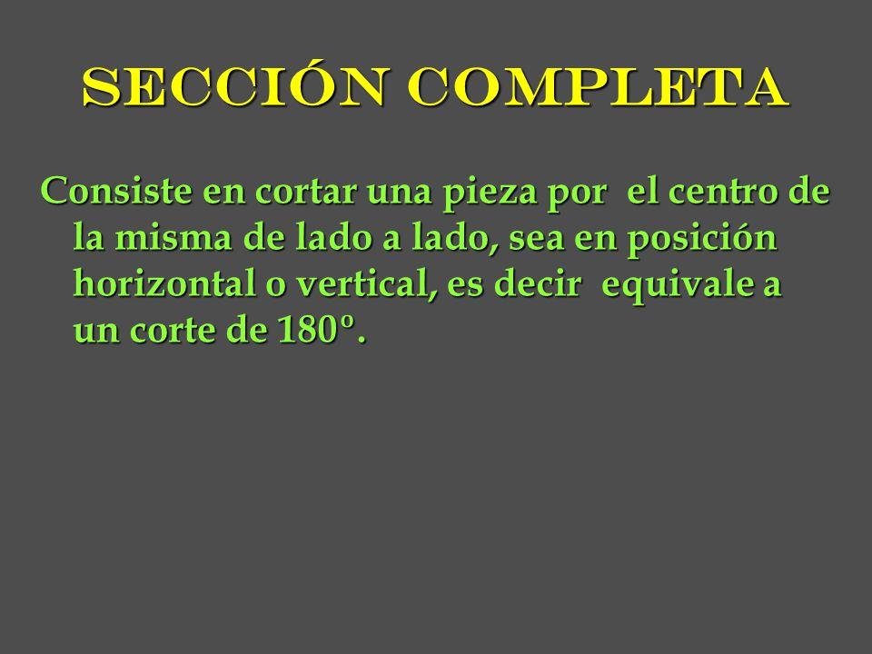 Sección completa Consiste en cortar una pieza por el centro de la misma de lado a lado, sea en posición horizontal o vertical, es decir equivale a un corte de 180º.