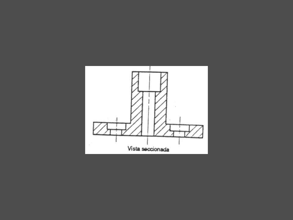 Sección Media Este tipo de sección consiste en realizar un corte a 90º a través radio de la misma proyección provocando que la vista lateral seccionada muestre la mitad del objeto cortado y la otra mitad entero del centro de la pieza.