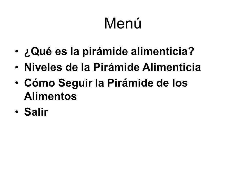 Menú ¿Qué es la pirámide alimenticia? Niveles de la Pirámide Alimenticia Cómo Seguir la Pirámide de los Alimentos Salir