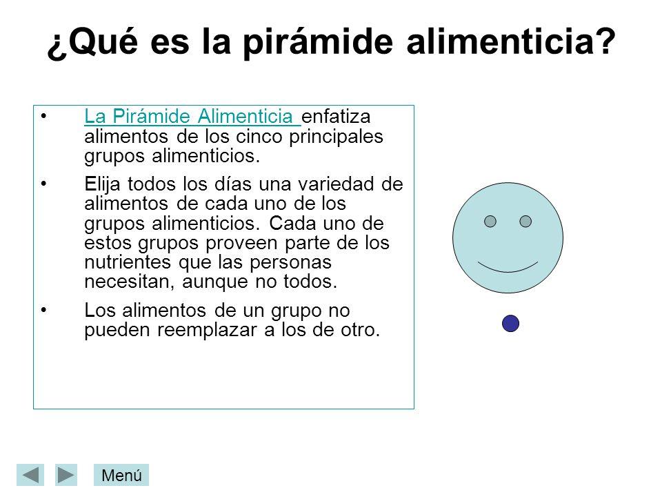 ¿Qué es la pirámide alimenticia? La Pirámide Alimenticia enfatiza alimentos de los cinco principales grupos alimenticios.La Pirámide Alimenticia Elija