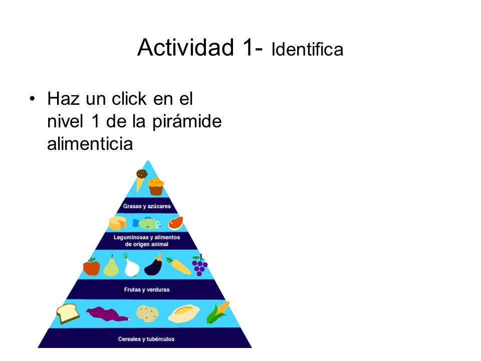 Actividad 1- Identifica Haz un click en el nivel 1 de la pirámide alimenticia