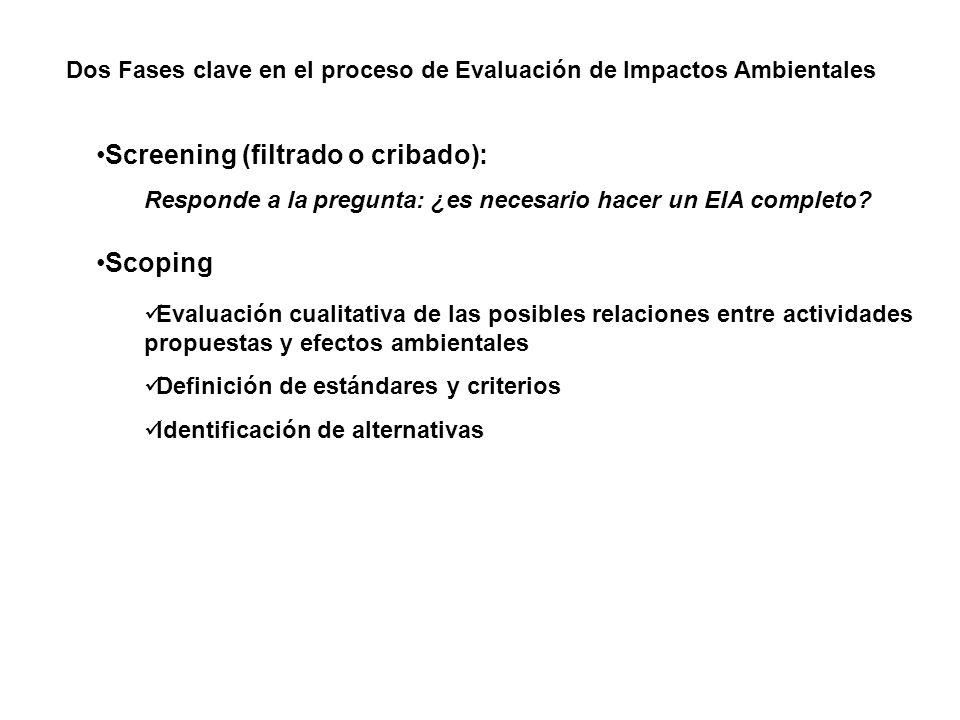 Dos Fases clave en el proceso de Evaluación de Impactos Ambientales Screening (filtrado o cribado): Responde a la pregunta: ¿es necesario hacer un EIA