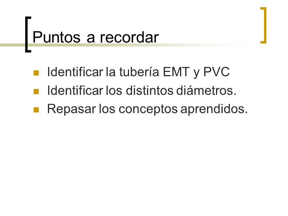 Puntos a recordar Identificar la tubería EMT y PVC Identificar los distintos diámetros. Repasar los conceptos aprendidos.