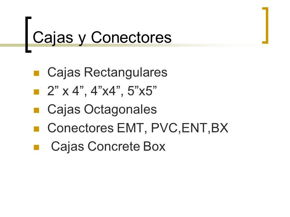Cajas y Conectores Cajas Rectangulares 2 x 4, 4x4, 5x5 Cajas Octagonales Conectores EMT, PVC,ENT,BX Cajas Concrete Box