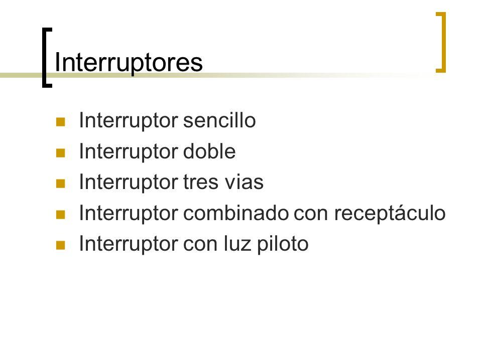 Interruptores Interruptor sencillo Interruptor doble Interruptor tres vias Interruptor combinado con receptáculo Interruptor con luz piloto