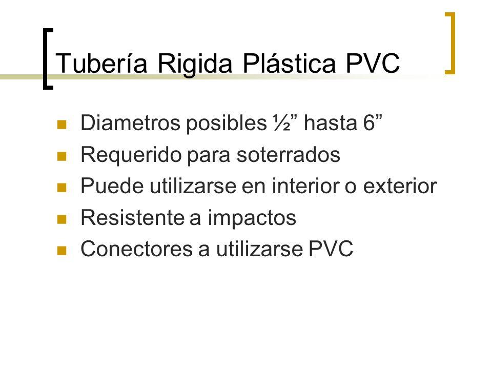 Tubería Rigida Plástica PVC Diametros posibles ½ hasta 6 Requerido para soterrados Puede utilizarse en interior o exterior Resistente a impactos Conec