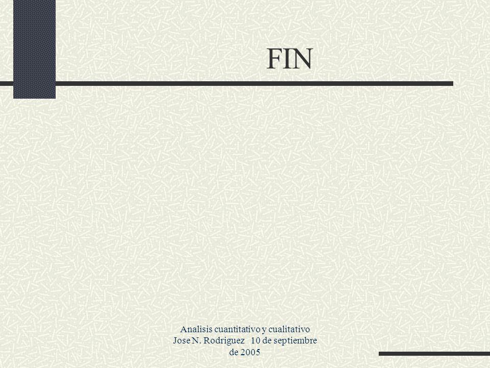 Analisis cuantitativo y cualitativo Jose N. Rodriguez 10 de septiembre de 2005 FIN