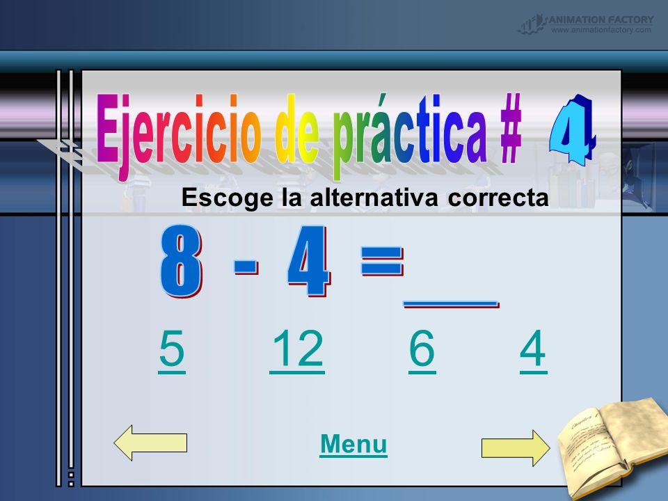 Escoge la alternativa correcta - = ___ 6 2 5 36253 Menu