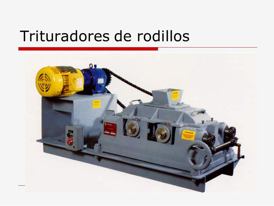 Trituradores de rodillos (II) Rodillo típico: 600 mm de diámetro, 300 mm de longitud Máximo: 2000 mm de diámetro, 950 mm de longitud Rodillos lisos o corrugados Capacidad: <1100 Ton/h Velocidad periférica: 200 a 1200 pie/min