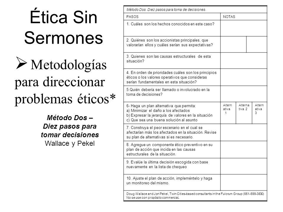 Método Dos – Diez pasos para tomar decisiones Wallace y Pekel Ética Sin Sermones Metodologías para direccionar problemas éticos* Método Dos. Diez paso