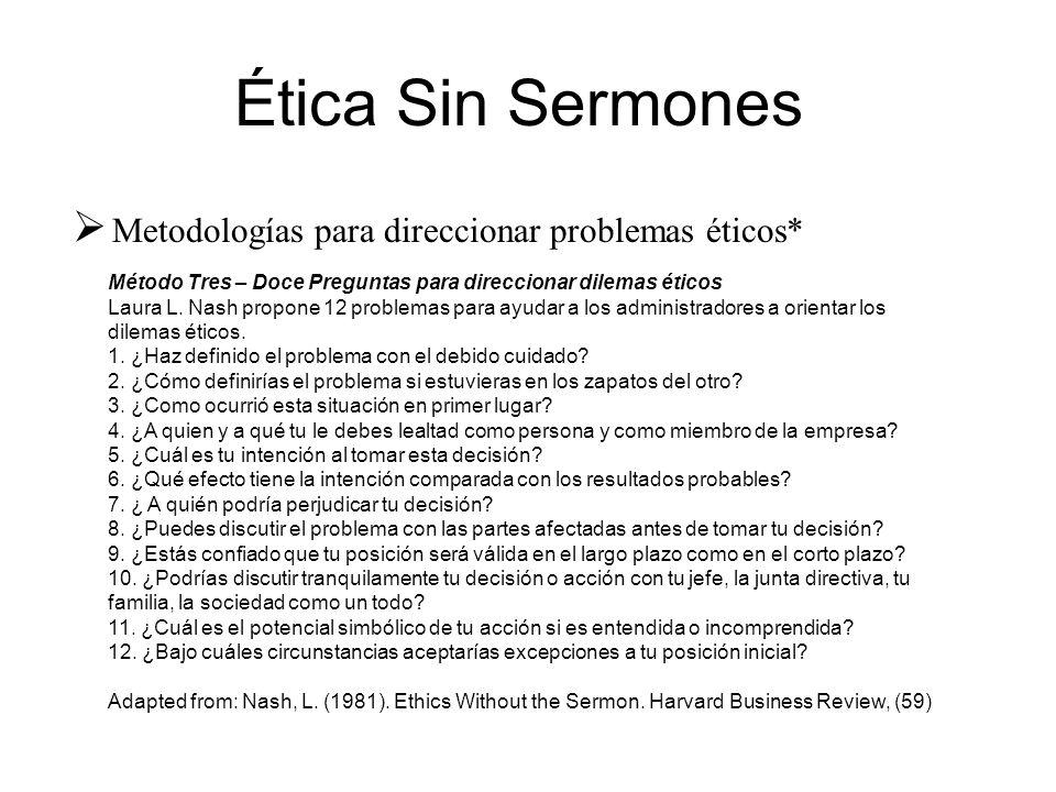 Método Tres – Doce Preguntas para direccionar dilemas éticos Laura L. Nash propone 12 problemas para ayudar a los administradores a orientar los dilem