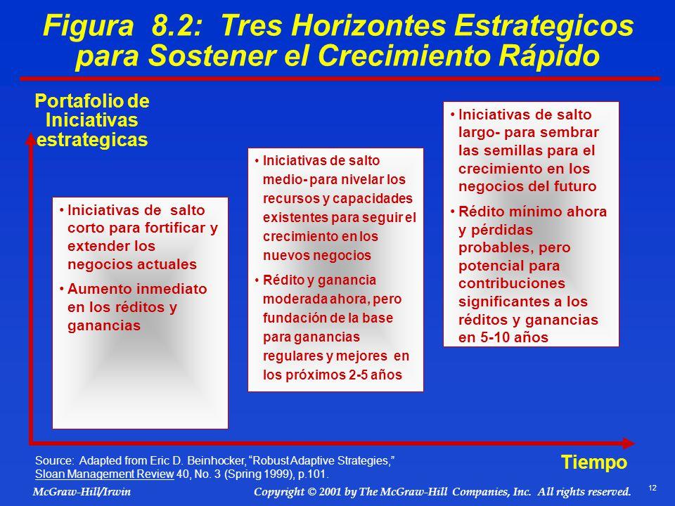 12 © 2001 by The McGraw-Hill Companies, Inc. All rights reserved. McGraw-Hill/Irwin Copyright Figura 8.2: Tres Horizontes Estrategicos para Sostener e