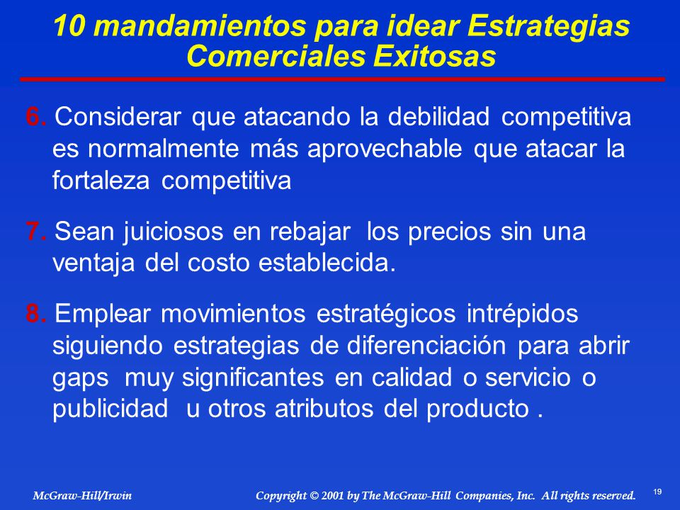 19 © 2001 by The McGraw-Hill Companies, Inc. All rights reserved. McGraw-Hill/Irwin Copyright 6. Considerar que atacando la debilidad competitiva es n