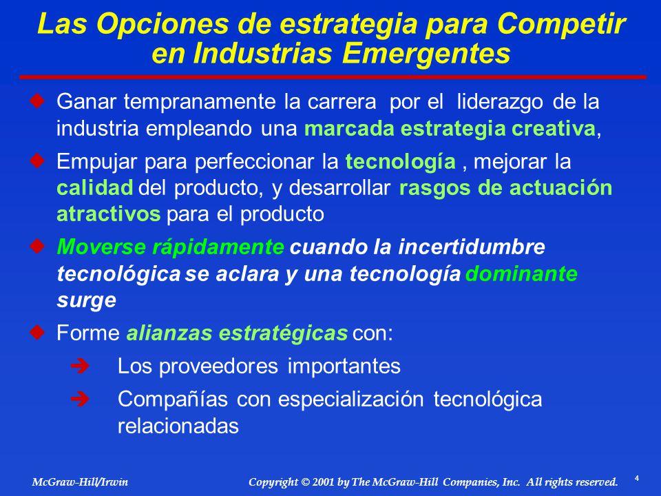 4 © 2001 by The McGraw-Hill Companies, Inc. All rights reserved. McGraw-Hill/Irwin Copyright Las Opciones de estrategia para Competir en Industrias Em