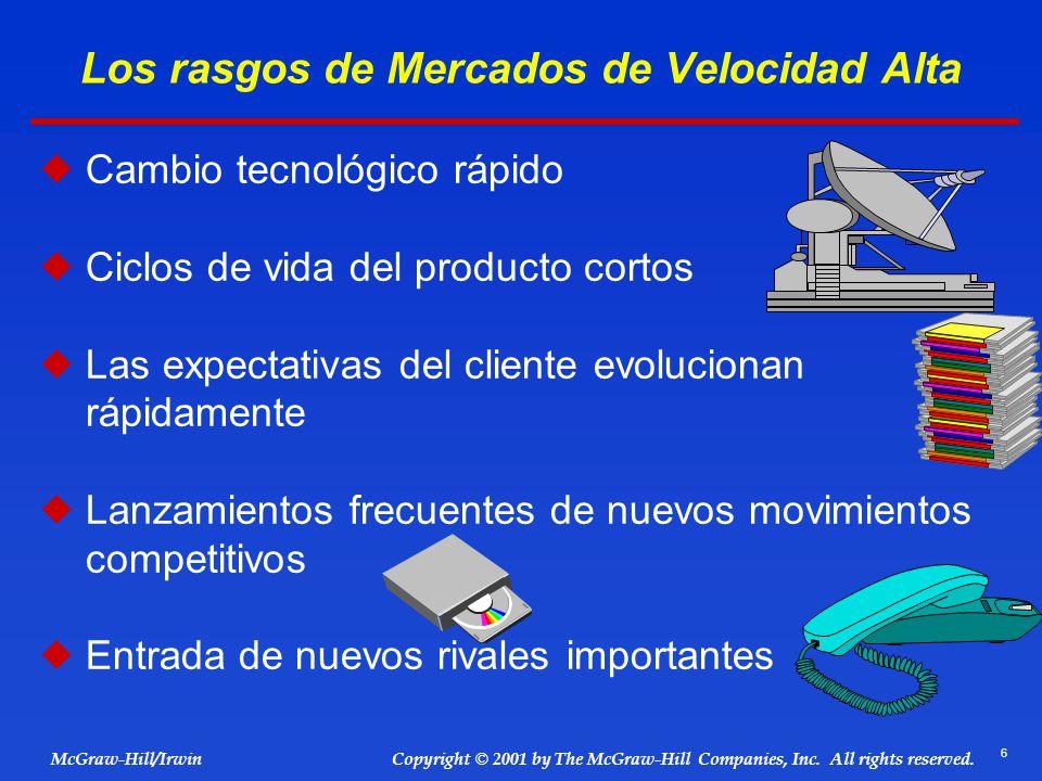 6 © 2001 by The McGraw-Hill Companies, Inc. All rights reserved. McGraw-Hill/Irwin Copyright Los rasgos de Mercados de Velocidad Alta Cambio tecnológi