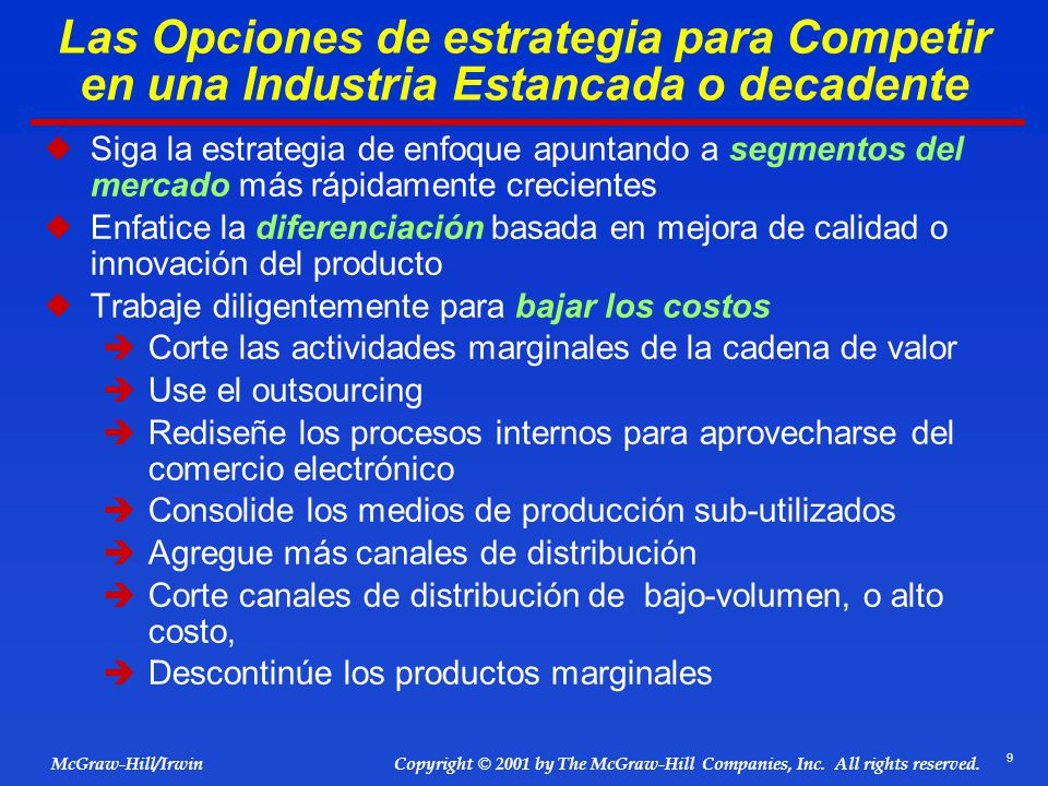 9 © 2001 by The McGraw-Hill Companies, Inc. All rights reserved. McGraw-Hill/Irwin Copyright Las Opciones de estrategia para Competir en una Industria