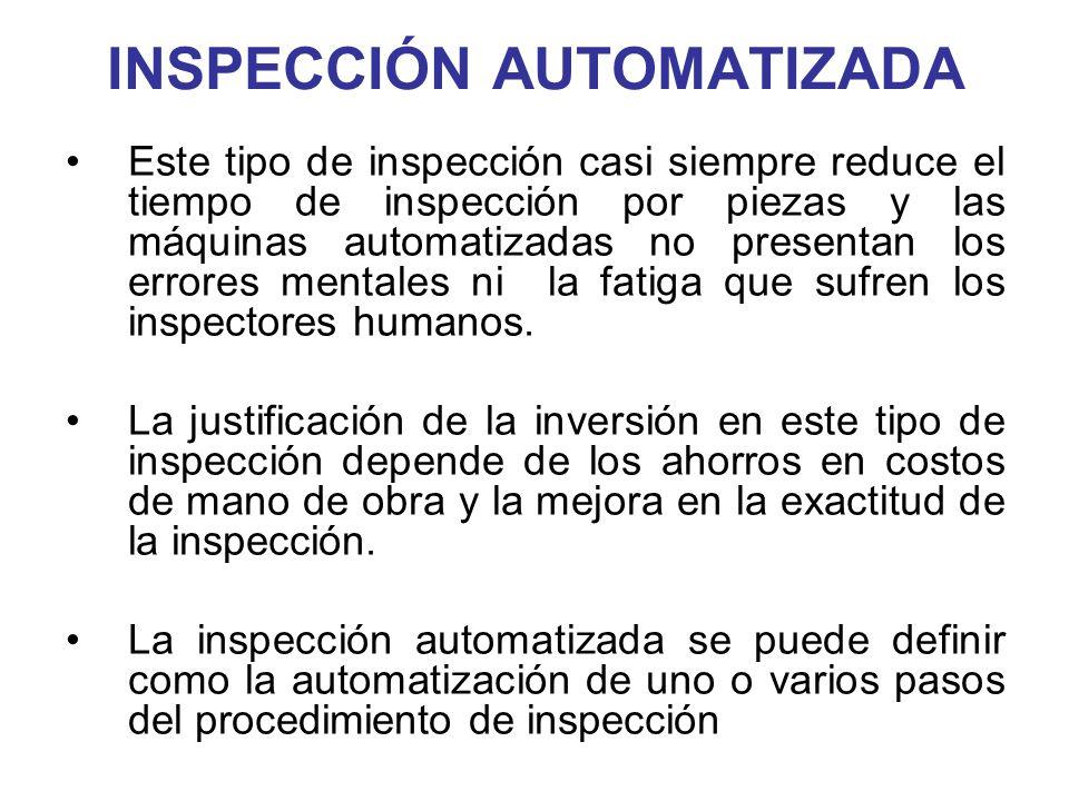 INSPECCIÓN AUTOMATIZADA Este tipo de inspección casi siempre reduce el tiempo de inspección por piezas y las máquinas automatizadas no presentan los e