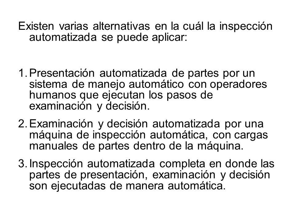 Existen varias alternativas en la cuál la inspección automatizada se puede aplicar: 1.Presentación automatizada de partes por un sistema de manejo aut
