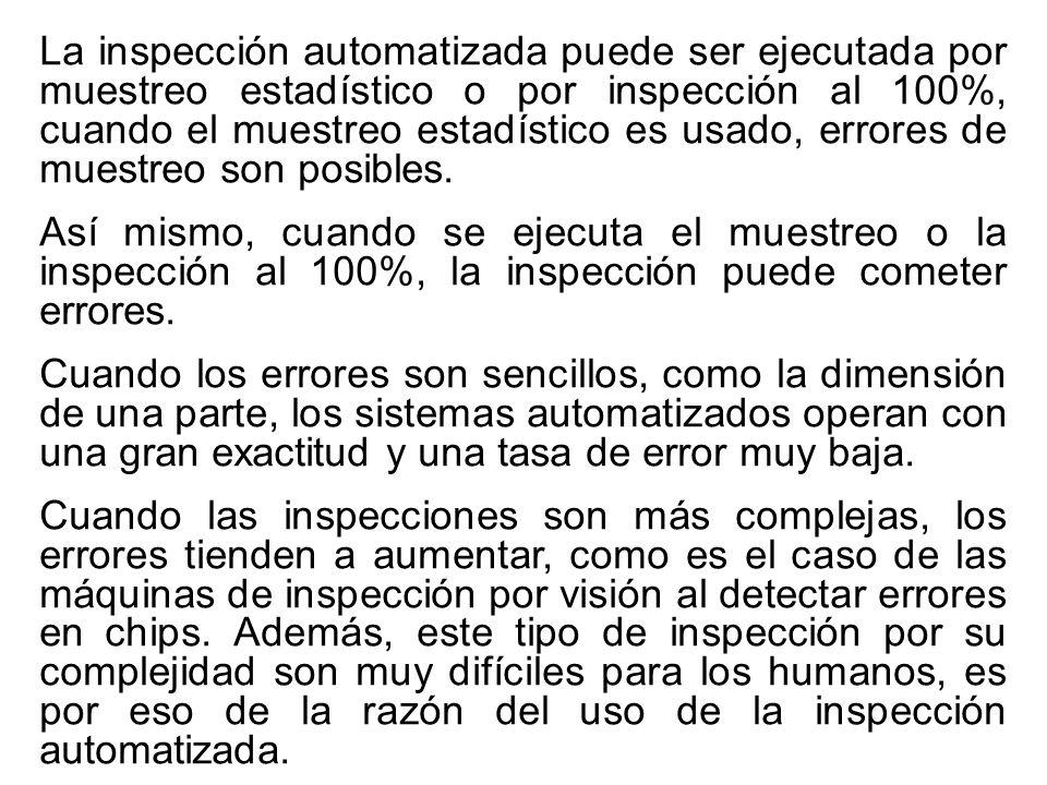 La inspección automatizada puede ser ejecutada por muestreo estadístico o por inspección al 100%, cuando el muestreo estadístico es usado, errores de