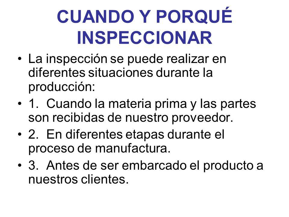 CUANDO Y PORQUÉ INSPECCIONAR La inspección se puede realizar en diferentes situaciones durante la producción: 1.Cuando la materia prima y las partes s