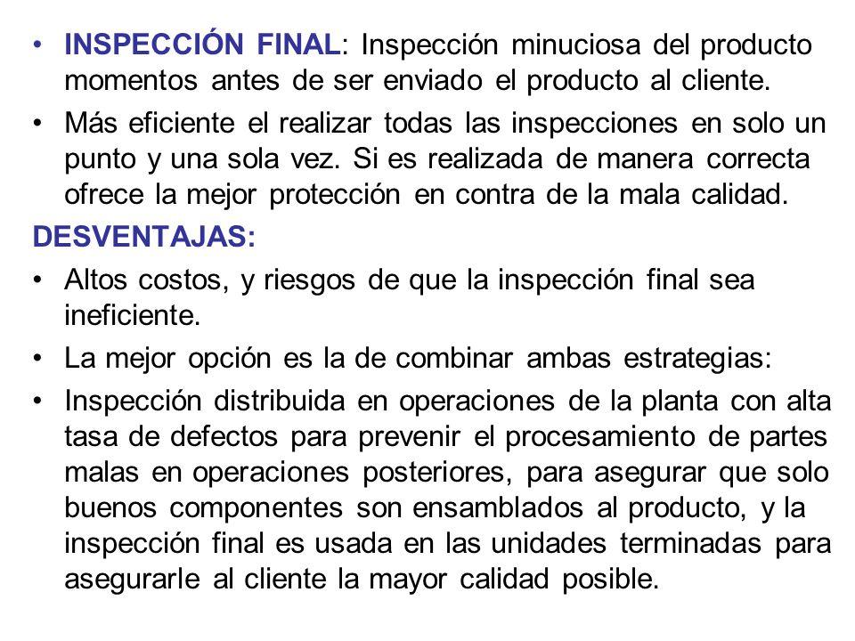 INSPECCIÓN FINAL: Inspección minuciosa del producto momentos antes de ser enviado el producto al cliente. Más eficiente el realizar todas las inspecci