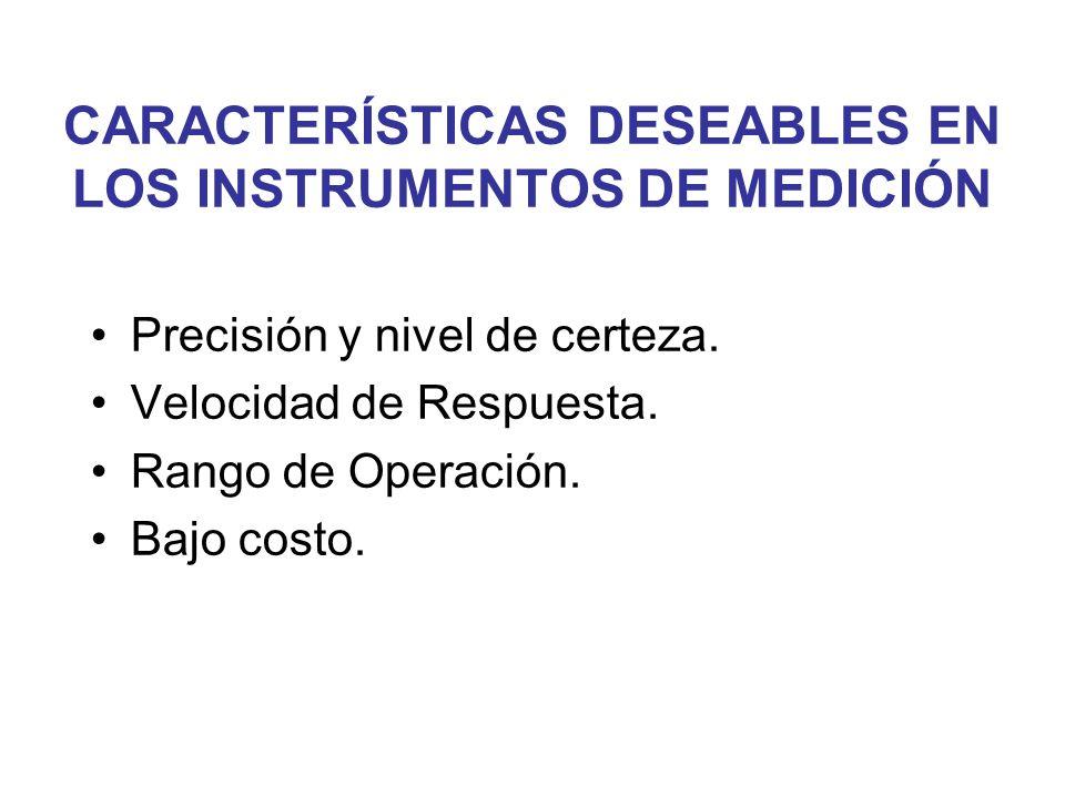 CARACTERÍSTICAS DESEABLES EN LOS INSTRUMENTOS DE MEDICIÓN Precisión y nivel de certeza. Velocidad de Respuesta. Rango de Operación. Bajo costo.