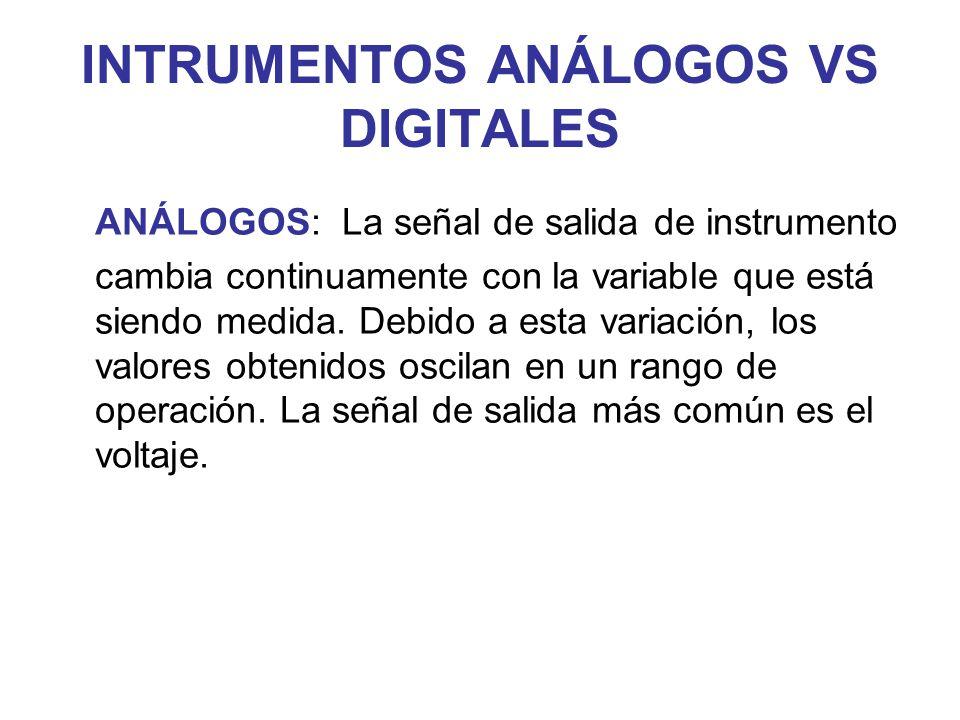 INTRUMENTOS ANÁLOGOS VS DIGITALES ANÁLOGOS: La señal de salida de instrumento cambia continuamente con la variable que está siendo medida. Debido a es